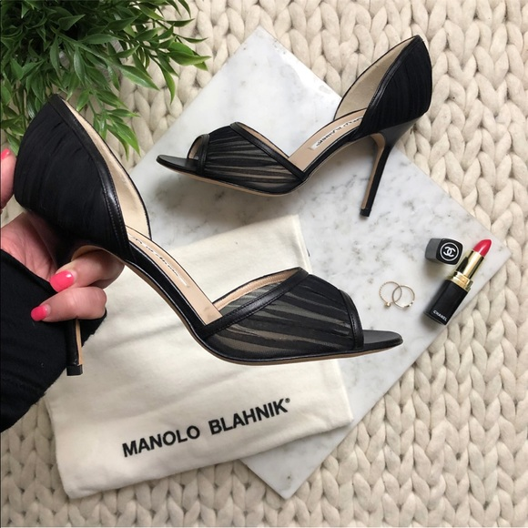 Manolo Blahnik Shoes - Manolo Blahnik Black Peep Toe Stiletto Heels
